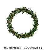 watercolor wreath with branches ... | Shutterstock . vector #1009952551