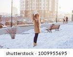 happy winter time in big city...   Shutterstock . vector #1009955695