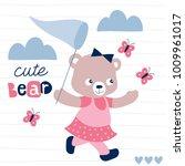 little teddy bear catches... | Shutterstock .eps vector #1009961017