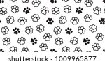 Stock vector dog paw seamless pattern cat paw vector foot print kitten puppy wallpaper background 1009965877