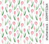 watercolor tulips pattern.... | Shutterstock . vector #1009972264