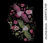 crane bird  flowers  rose  rose ... | Shutterstock .eps vector #1009976749