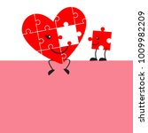 cute jigsaw puzzle heart and... | Shutterstock .eps vector #1009982209