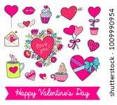 lovely vector set of cute... | Shutterstock .eps vector #1009990954