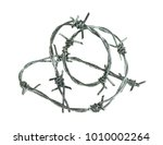 barbed wire isolated on a white ... | Shutterstock . vector #1010002264