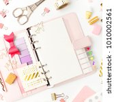 planner mockup and stationary.... | Shutterstock . vector #1010002561