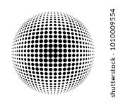 white 3d halftone sphere.dotted ... | Shutterstock . vector #1010009554