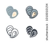 oyster food flat line sihlouette | Shutterstock .eps vector #1010010154