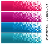 set of colorful pixel banners | Shutterstock .eps vector #1010016775