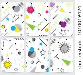 trendy memphis style geometric... | Shutterstock .eps vector #1010019424