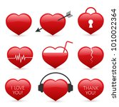 set of nine red hearts icons... | Shutterstock .eps vector #1010022364