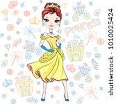 beautiful fashion girl top... | Shutterstock .eps vector #1010025424