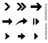 black arrows set. flat arrow... | Shutterstock .eps vector #1010032411