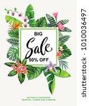 tropical hawaiian sale flyer... | Shutterstock .eps vector #1010036497