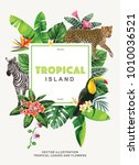 tropical hawaiian poster with... | Shutterstock .eps vector #1010036521