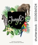 tropical hawaiian poster with... | Shutterstock .eps vector #1010036524