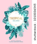 tropical hawaiian poster with... | Shutterstock .eps vector #1010036545