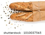 top view of two baguettes baked ...   Shutterstock . vector #1010037565