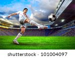 football player on field of... | Shutterstock . vector #101004097