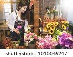 young women business owner... | Shutterstock . vector #1010046247