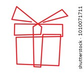 gift box   continuous line... | Shutterstock .eps vector #1010071711