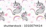 hand drawn fantasy unicorn and... | Shutterstock .eps vector #1010074414