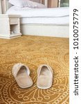 a pair of slippers in the... | Shutterstock . vector #1010075779
