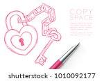 Heart Lock And Key Chain Love...