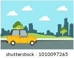 taxi waiting for passengers in... | Shutterstock .eps vector #1010097265