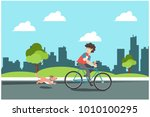 young boy riding bikes with... | Shutterstock .eps vector #1010100295