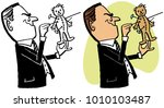 a man sticking pins into a... | Shutterstock .eps vector #1010103487
