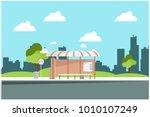 bus stop in the park  vector... | Shutterstock .eps vector #1010107249