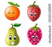 fresh fruit with face | Shutterstock . vector #1010110009