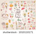 cute fall in love collection.... | Shutterstock .eps vector #1010110171