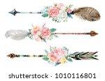 watercolor ethnic boho set of... | Shutterstock . vector #1010116801