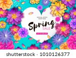 bright origami spring sale... | Shutterstock .eps vector #1010126377