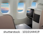 business class in airplane  | Shutterstock . vector #1010144419