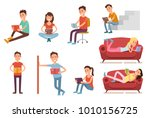 students read books in... | Shutterstock .eps vector #1010156725