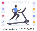 strong black man is running on... | Shutterstock .eps vector #1010156755