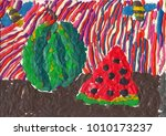 watermelon  bees and ripe slice.... | Shutterstock . vector #1010173237