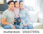 asian family watching... | Shutterstock . vector #1010173531