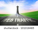 a road turning into an arrow... | Shutterstock . vector #101018485
