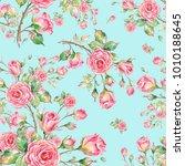 watercolor seamless rose... | Shutterstock . vector #1010188645