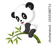 cute funny baby panda hanging... | Shutterstock .eps vector #1010188711