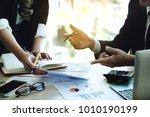 businessman using pen and... | Shutterstock . vector #1010190199