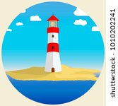 lighthouse in the afternoon.... | Shutterstock .eps vector #1010202241