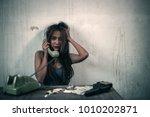 the drug dealer girl is talking ... | Shutterstock . vector #1010202871