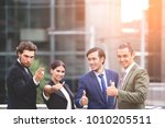 happy moment of business people ... | Shutterstock . vector #1010205511