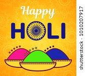 holi festival of spring and... | Shutterstock .eps vector #1010207917