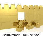 gold meccano wall on the white... | Shutterstock . vector #1010208955